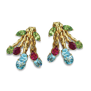 18K Multi Gemstone Earrings