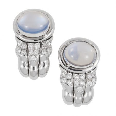 Flowing Lines Moonstone and Diamond Earrings