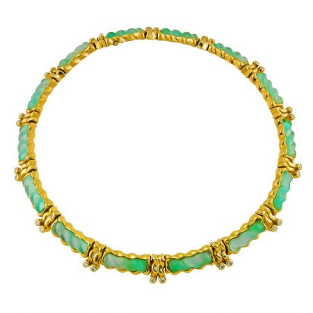 Chrystoprase and Diamond Collar Necklace