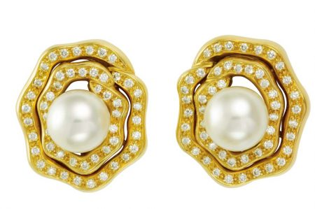 Chinese Cultured Pearl and Diamond Earrings