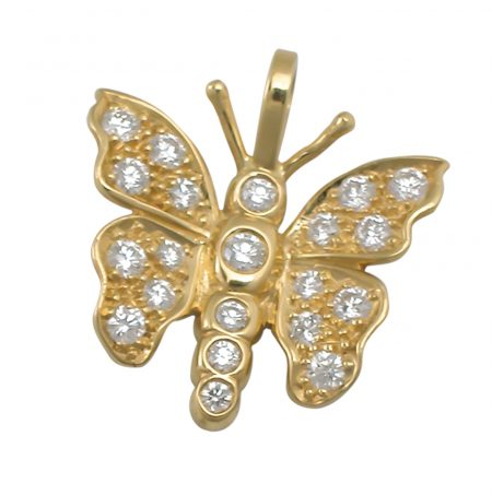Gold and Diamond Butterfly Pendant