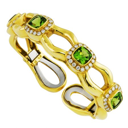 Peridot and Diamond Bangle Bracelet
