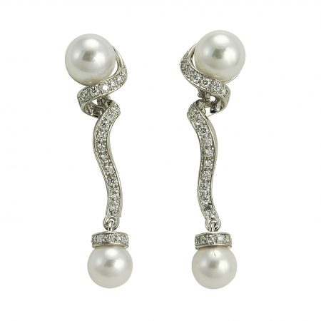 Cultured Pearl and Diamond Drop Earrrings