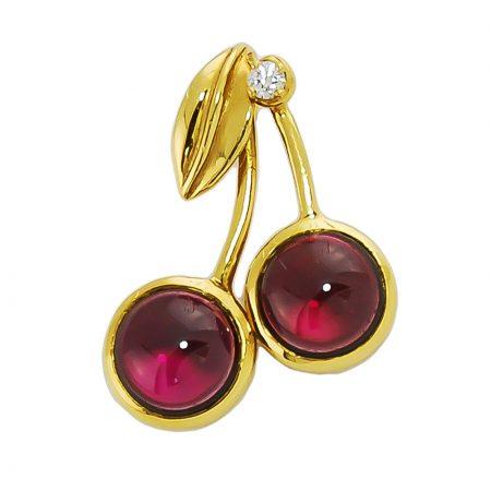 Rhodolite and Diamond Cherry Pendant