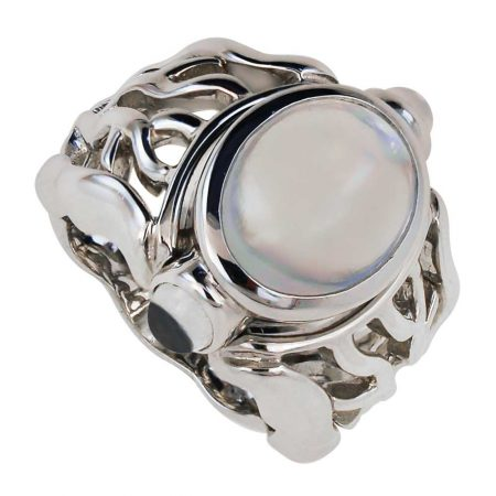 Open Flowing Lines Moonstone Ring