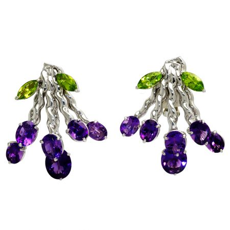 Flowing Lines Bouquet Amethyst and Peridot Earrings