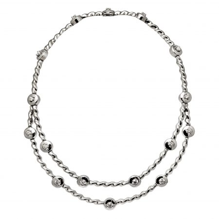 Flowing Lines Double Row Diamond Necklace