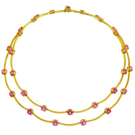 Cascade Double Row Pink Sapphire Necklace Kaufmann de Suisse Jewelers