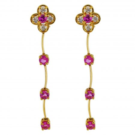 Cascade Pink Sapphire and Diamond Drop Earrings