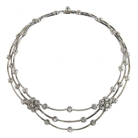Triple Row Cascade Diamond Necklace