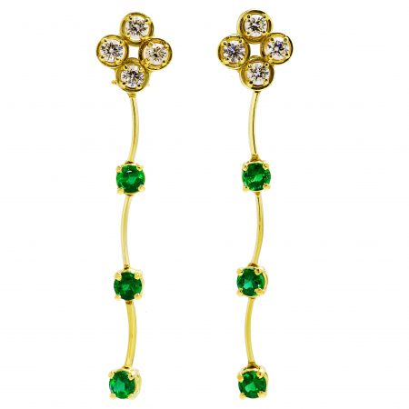 Cascade Emerald and Diamond Drop Earrings