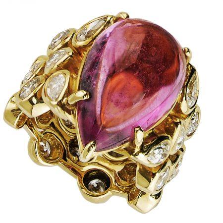 Amethyst and Diamond Splash Ring