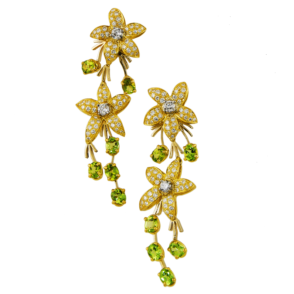 Peridot And Diamond Dangle Earrings