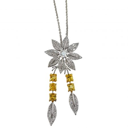 Feuilles Diamond Pendant with Leaf Drops