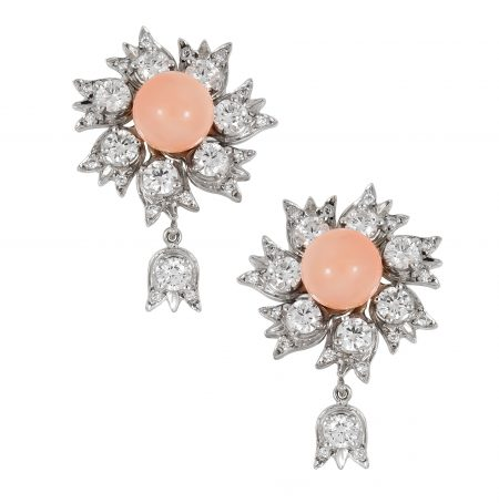 Lily of the Valley Coral and Diamond Earrings