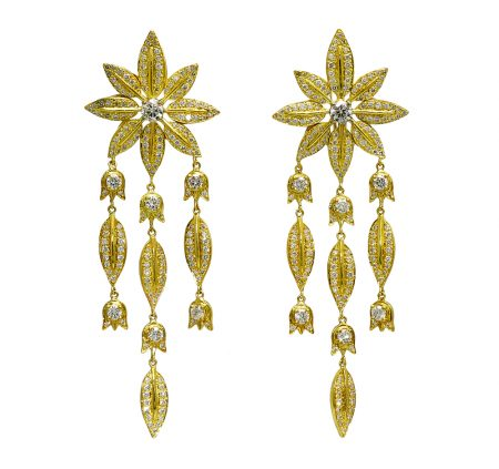 Feuilles and Lily of the Valley Diamond Drop Earrings