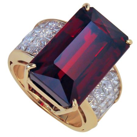 Rhodolite and Diamond Ring