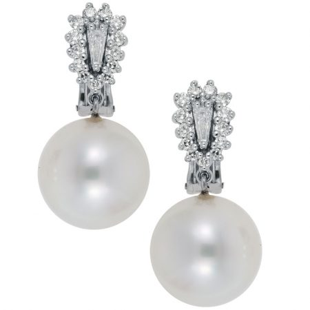 Cultured South Sea Pearl and Diamond Earrings