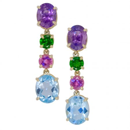 Topaz, Tourmaline and Amethyst Earrings