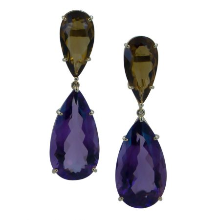 Amethyst and Citrine Pear Drop Earrings