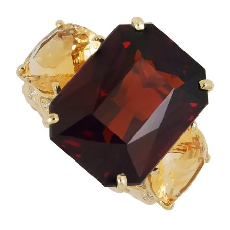 Rhodolite and Citrine and Diamond Ring