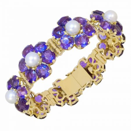 Amethyst and Cultured Pearl Bracelet