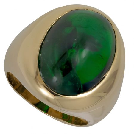 Diopside and Gold Men's Ring
