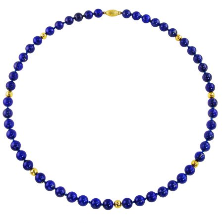Lapis and Gold Beaded Necklace