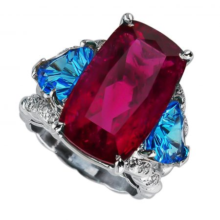 Blue Topaz and Red Gemstone Ring