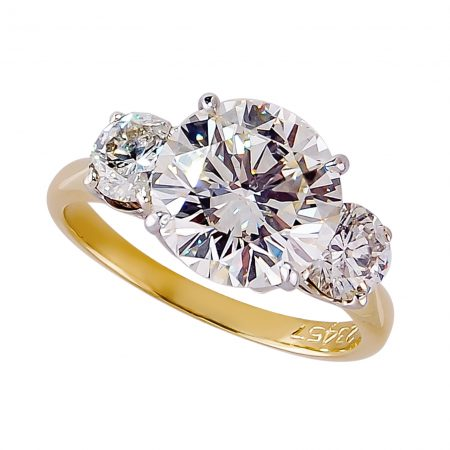 Three Stone Diamond Ring, Handmade in 18k Yellow Gold with a Center Round Diamond