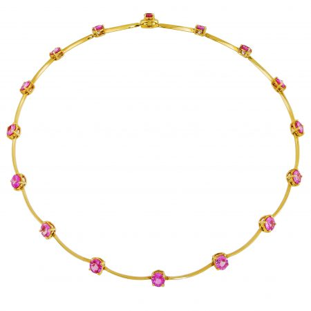 Cascade Single Row Pink Sapphire Necklace