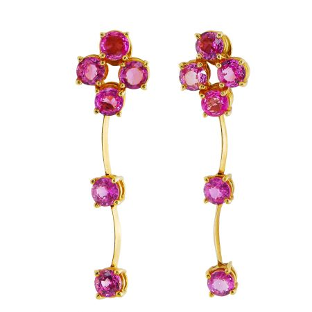 Single Row Cascade Pink Sapphire Drop Earrings