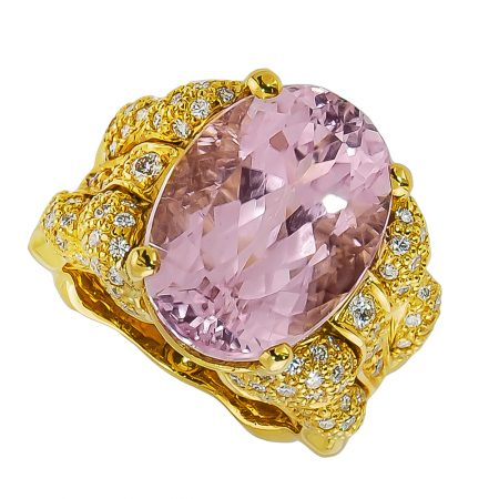 Flowing Lines Kunzite and Diamond Ring