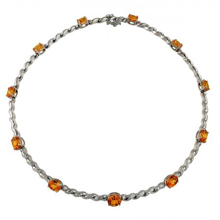 Mandarin Garnet and Diamond Necklace