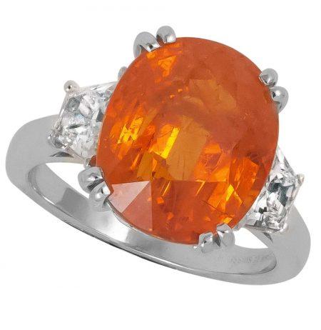 Spessartite and Diamond Ring