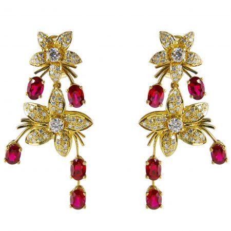 Jasmin de Nuit Ruby and Diamond Earrings