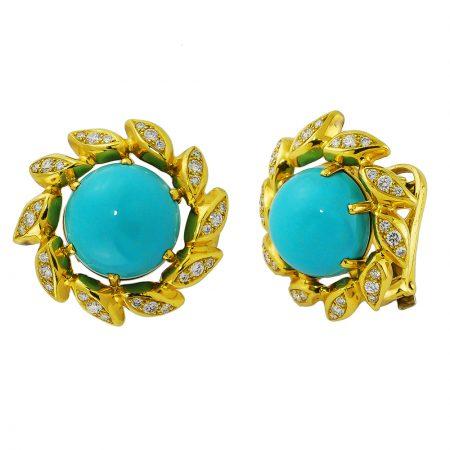 Turquoise and Diamond Leaf Earrings
