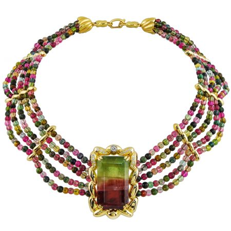 Pink and Green Tourmaline and Diamond Bead Necklace