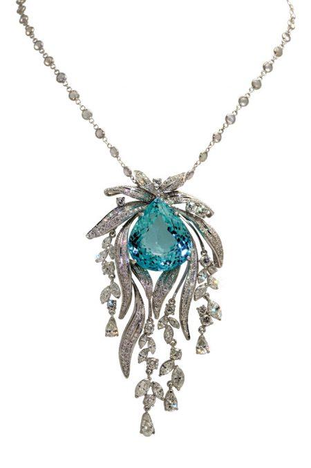 Sky Blue Topaz and Diamond Necklace