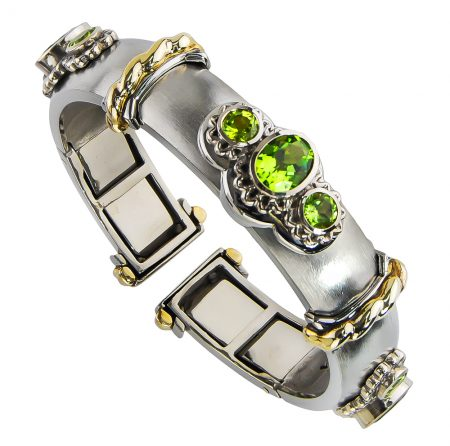 Callista Peridot Clip Bangle Bracelet
