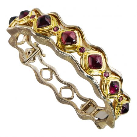Rhodolite and Gold Bangle Bracelet