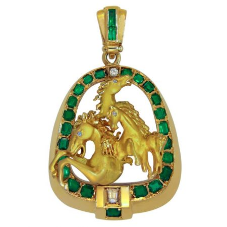 Emerald and Diamond Horse Pendant with Omega Chain