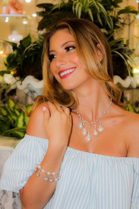 The Oyster Drop Necklace with Gray & White Freshwater Pearls and Baroque Drops
