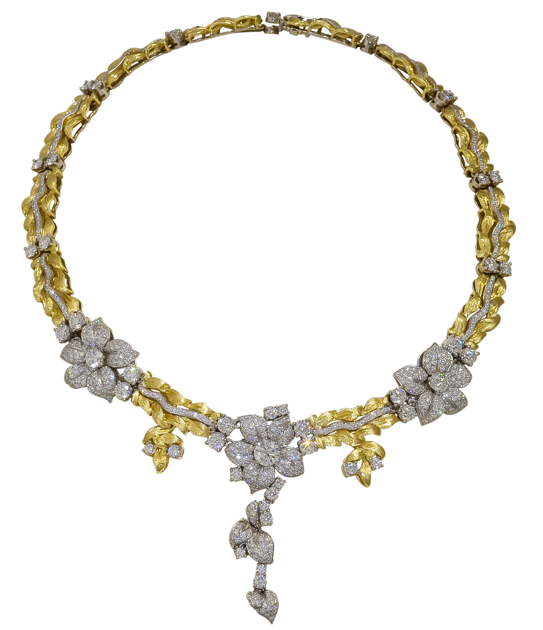 Grand Floral Bouquet Necklace with Diamonds and 18K Gold