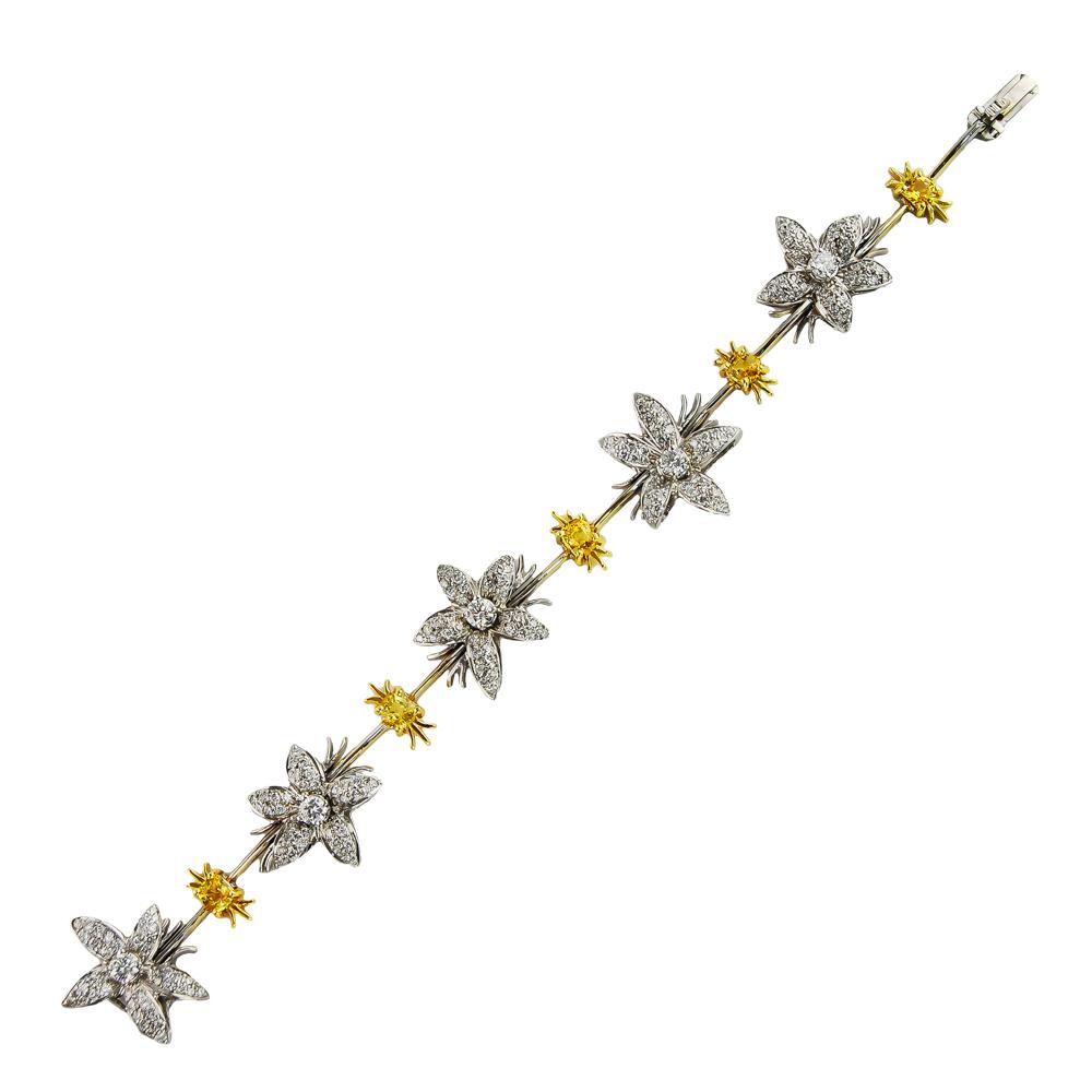 Yellow Sapphire & Diamond Bracelet