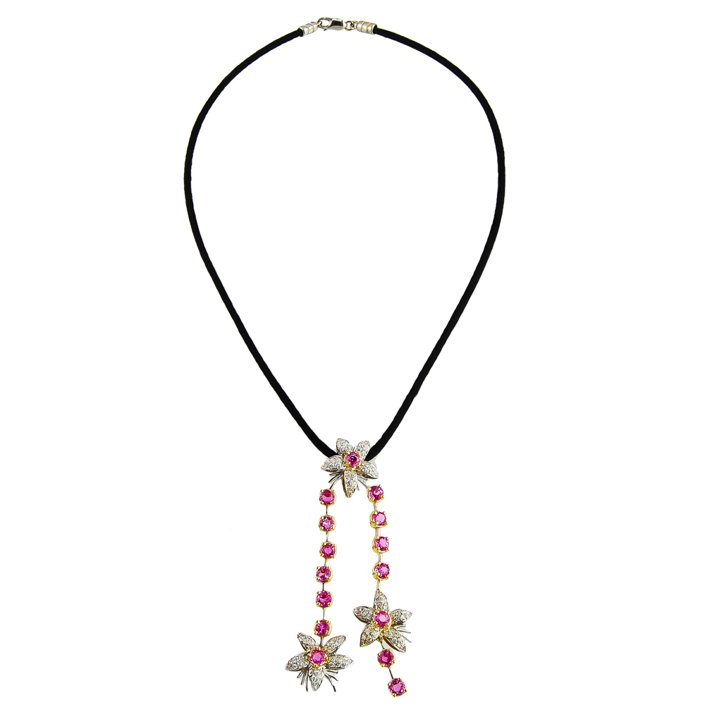 Pink Sapphire & Diamond Necklace