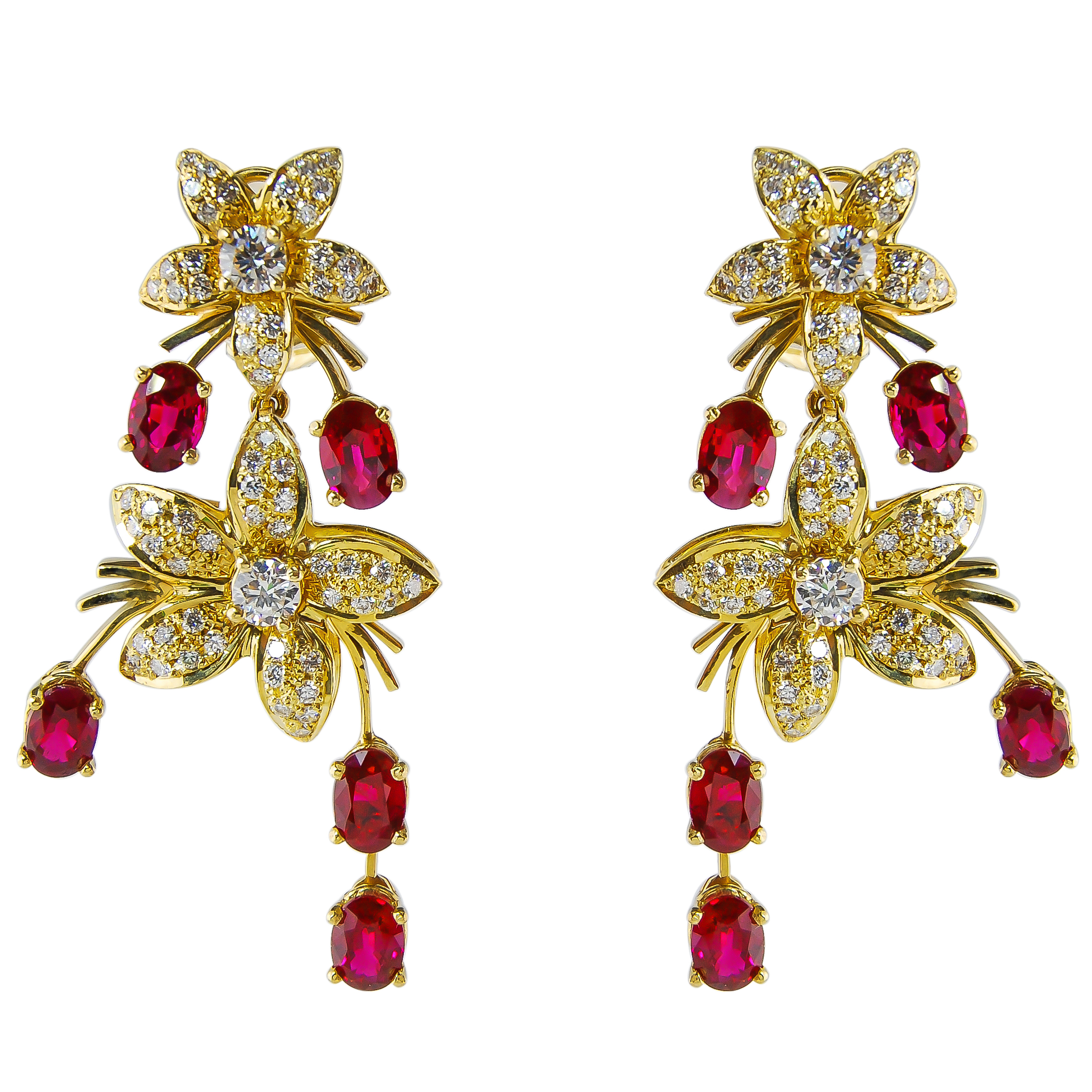 Ruby & Diamond Earrings from the Jasmine Collection at Kaufmann de Suisse