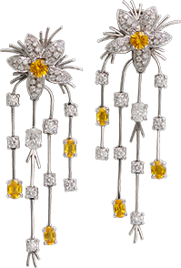 Diamond and Yellow Sapphire Earrings from the Jasmine Collection at Kaufmann de Suisse Jewelers.