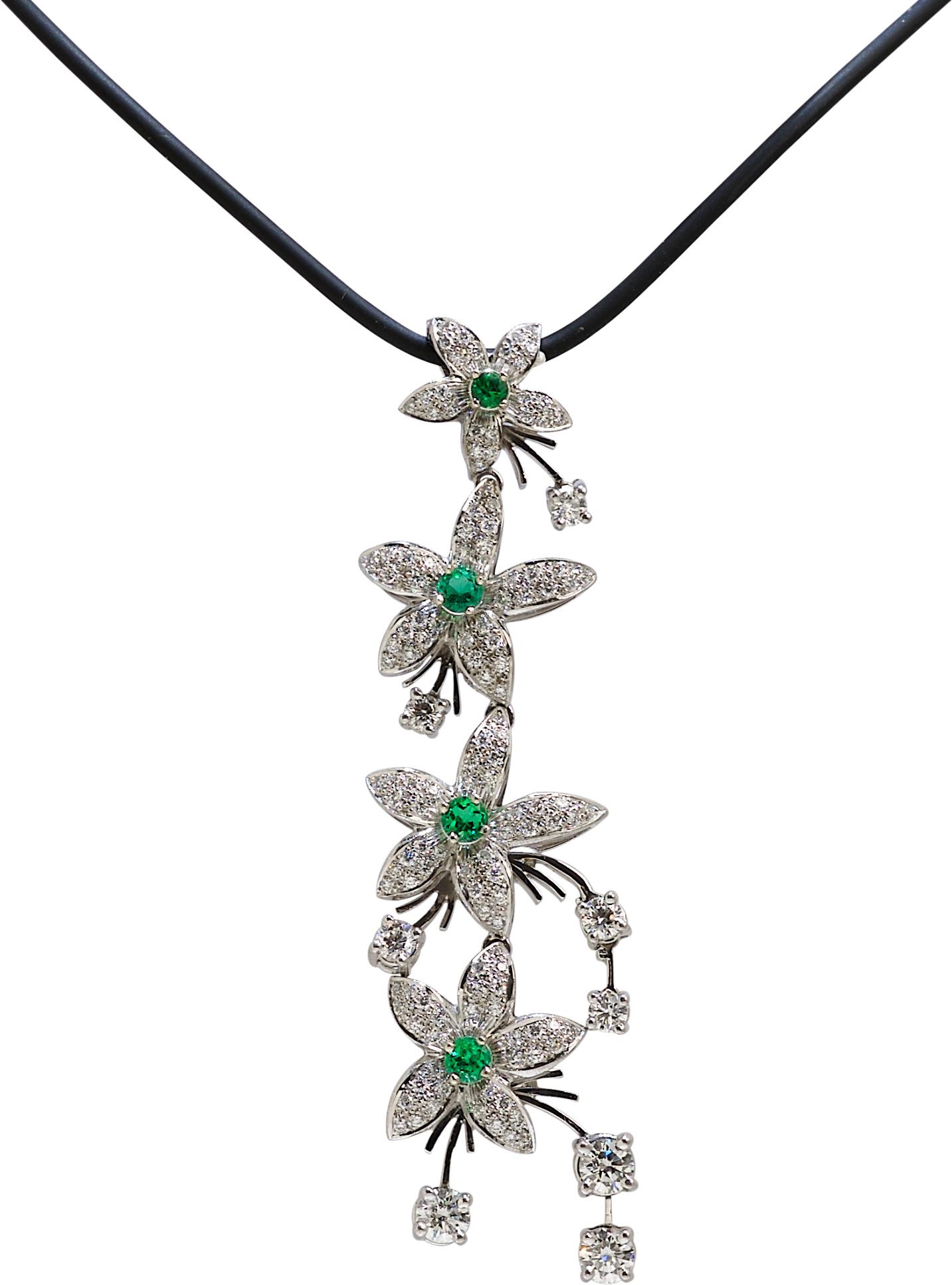Jasmine de Nuit Emerald & Diamond Drop Pendant