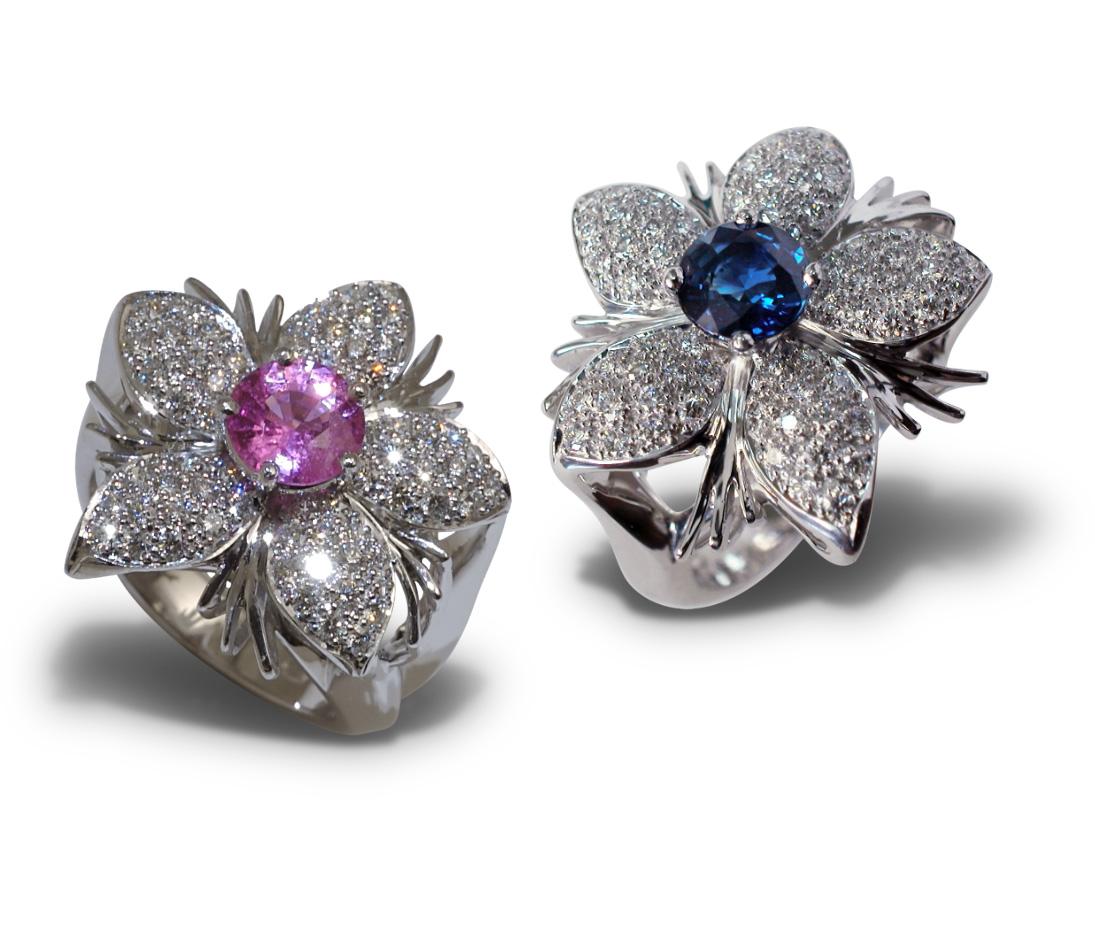 Jasmine de Suit Pink & Blue Sapphire Rings